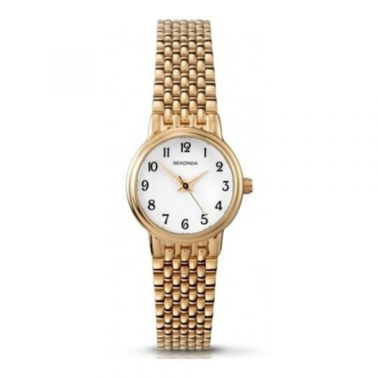 Gold IP Stainless Steel Ladies Watch With Arabic Numerals