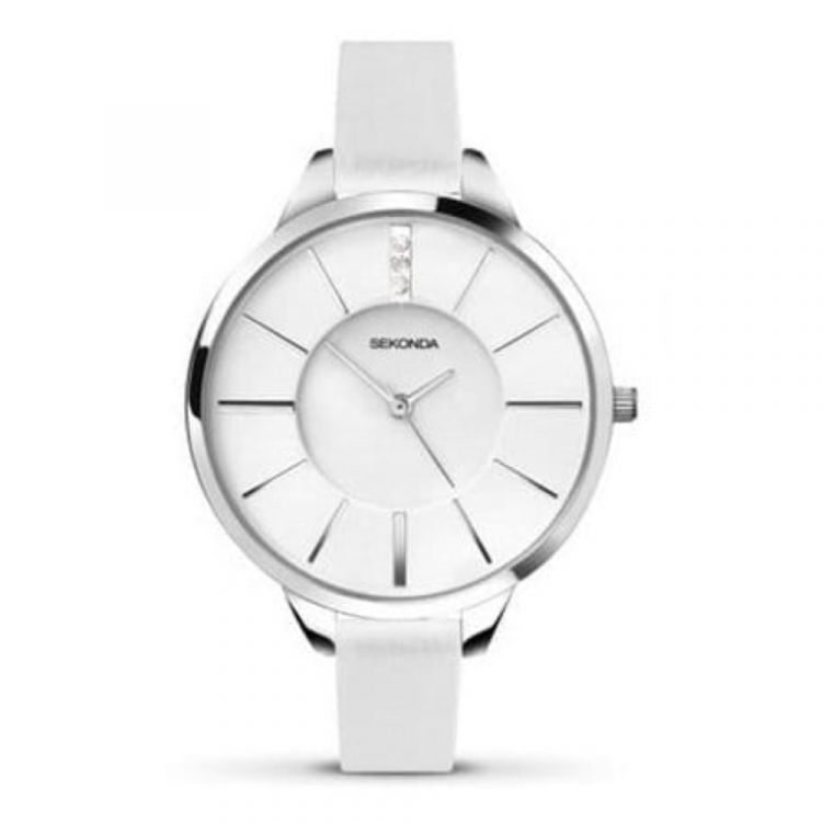 White Leather Ladies Strap Watch