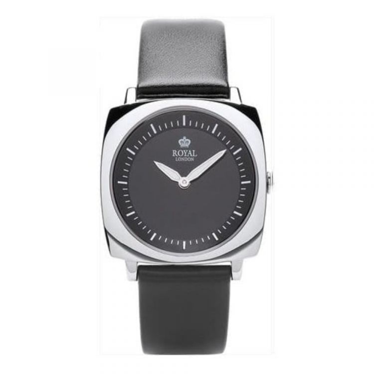 Ladies Black Leather Strap Watch With Black Dial