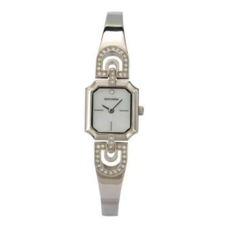 Ladies White Mother Of Pearl Dial Semi Bangle Watch