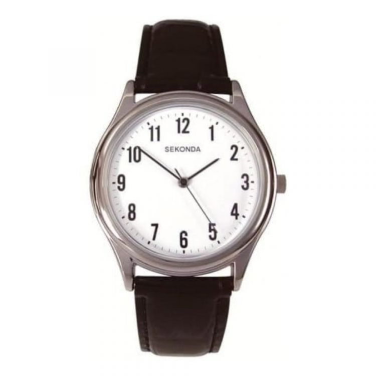 Sekonda Black Leather Gents Wristwatch
