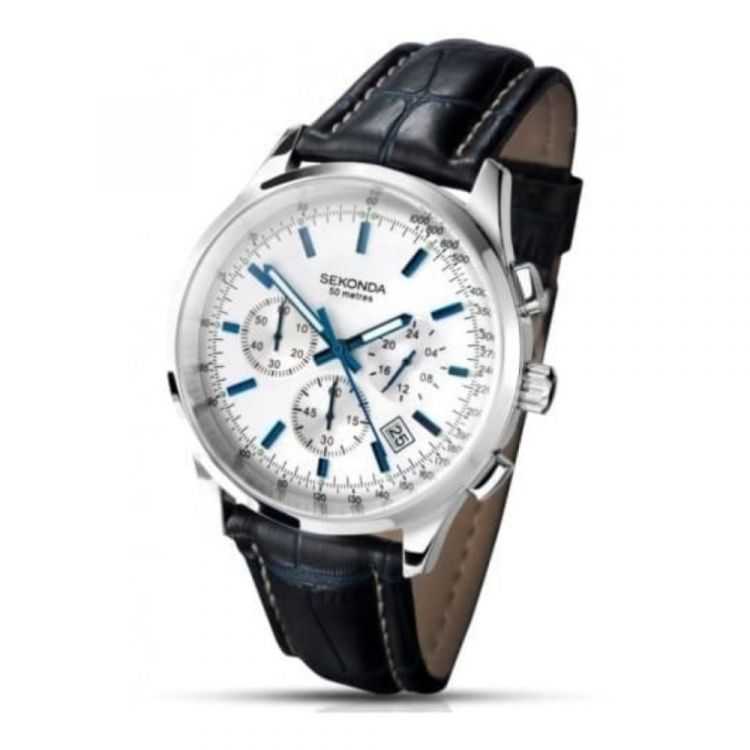 Blue Croco Leather Gents Chronograph Watch