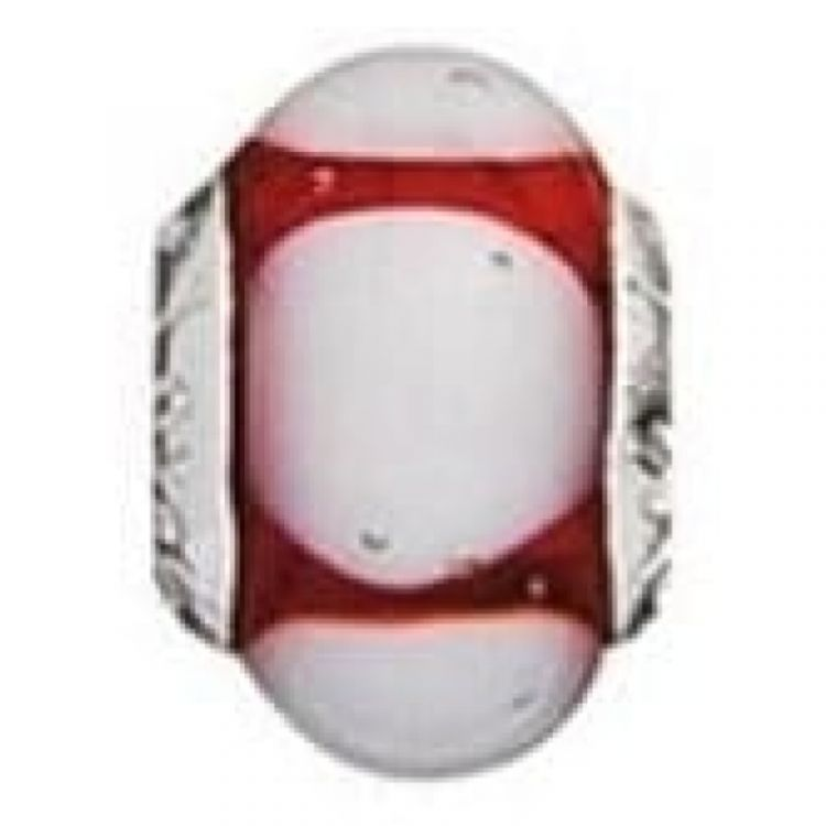 Sterling Silver And Murano 'Marshmellow' Red Glass Link