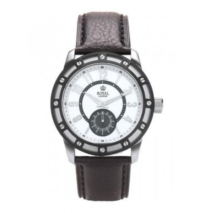 Gents 'The Virtuoso' Black Leather With Silver Dial Watch
