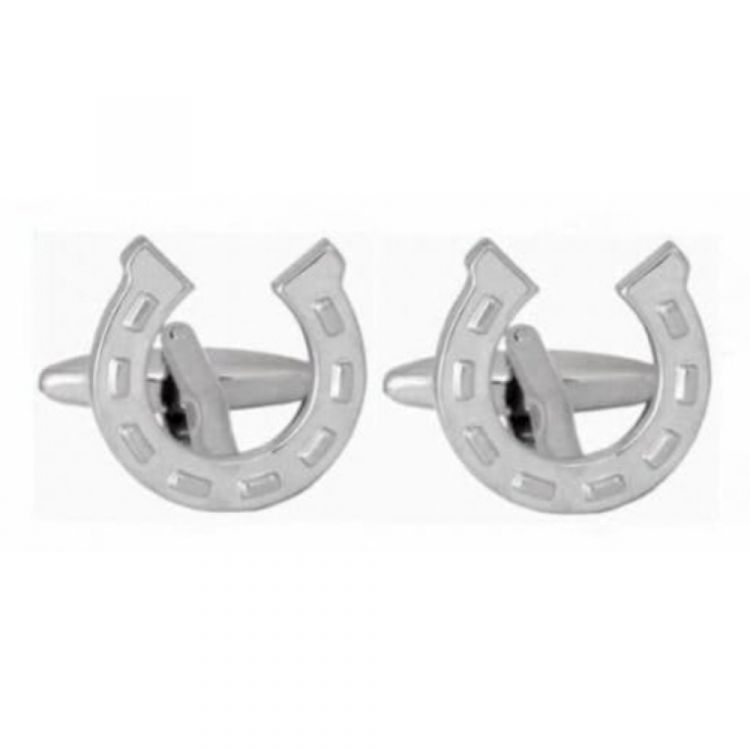 Rhodium Plated Horseshoe Cufflinks