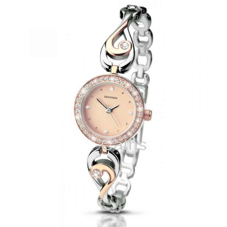 Ladies' Stainless Steel Silver and Rose Gold Wristwatch