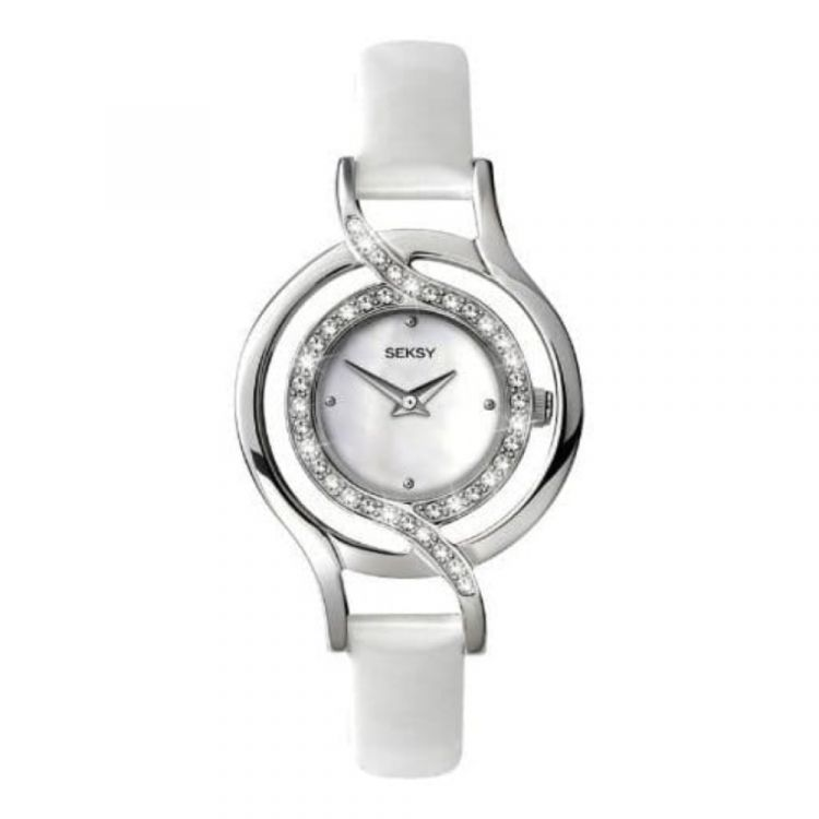 Ladies Mother of Pearl White Leather Stone Set Watch