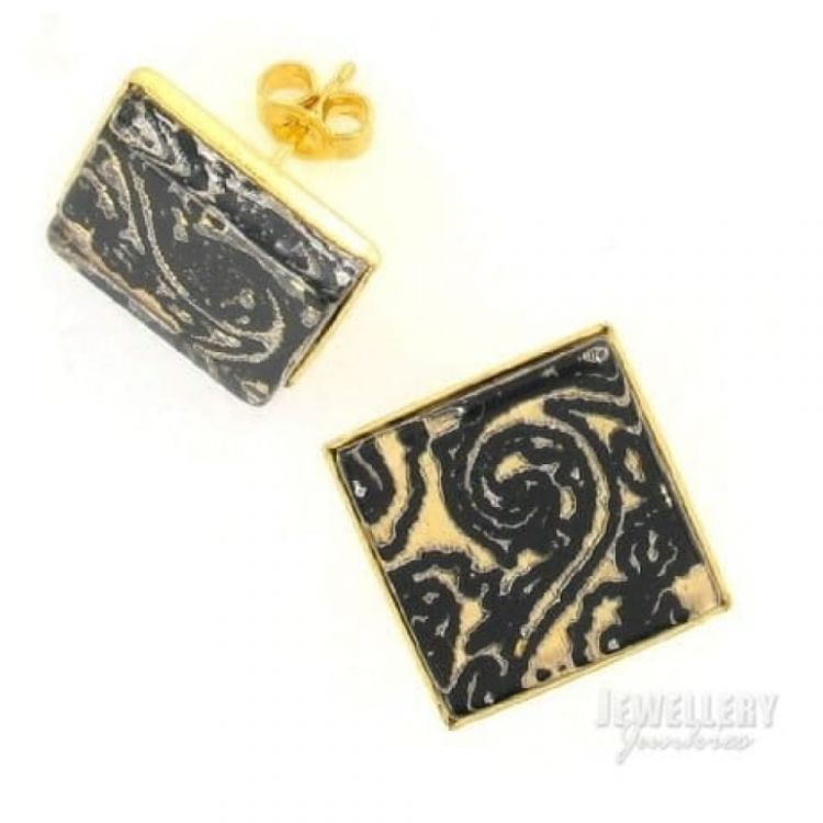 Black and Gold  Pattern Stud Earrings