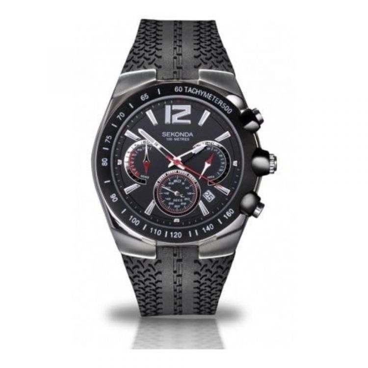 Black Rubber Chronograph Gents Watch