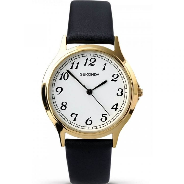 Gents Stainless Steel Black Leatherette Adjustable Strap Watch