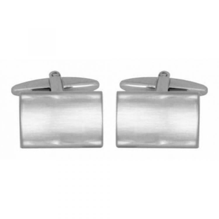 Rhodium plated Brushed Rectangular Shaped Cufflinks