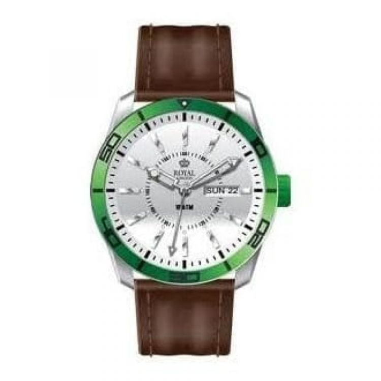 The Challenger Gents Green Bezel Brown Leather Watch