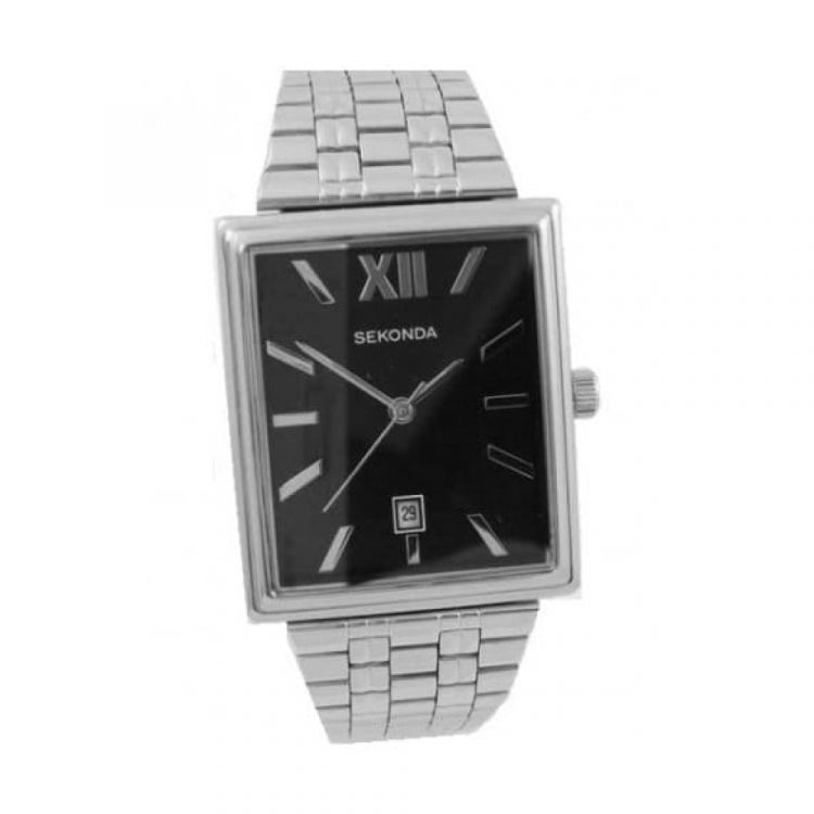 Linked Stainless Steel Gents Watch With Black Dial
