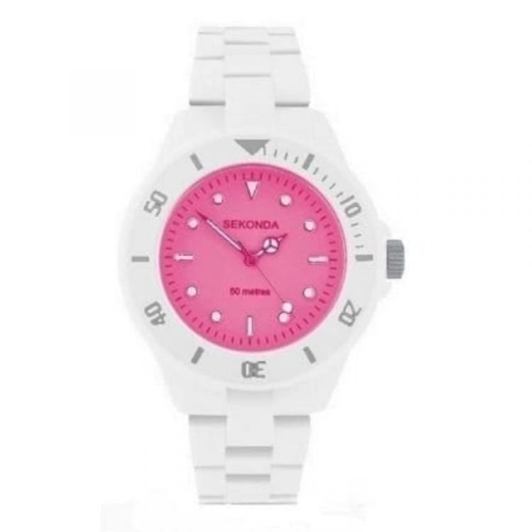 Ladies Icy Pink White Polycarbonate Strap Watch