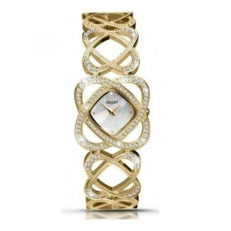 Gold Coated Stainless Steel Crystalised Bracelet Watch