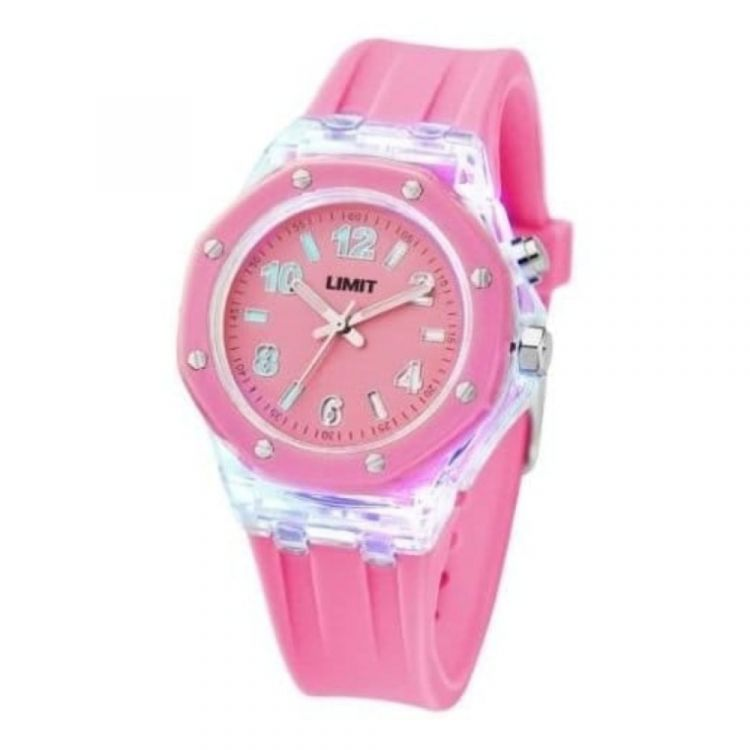 Ladies Strobe Pink Rubber Watch With Light Effect