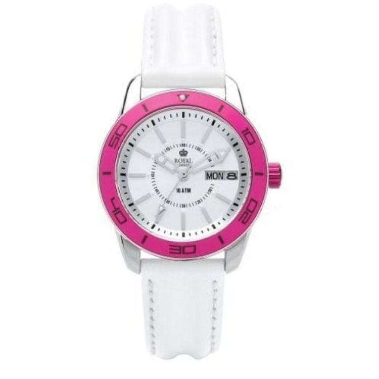 The Challenger Ladies Pink Bezel White Leather Watch