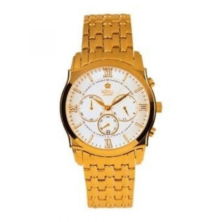 Gents Gold Polished Stainless Steel Analogue Wristwatch