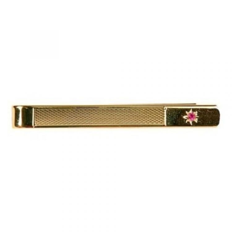 Gold Plated Textured Tie Bar With Ruby