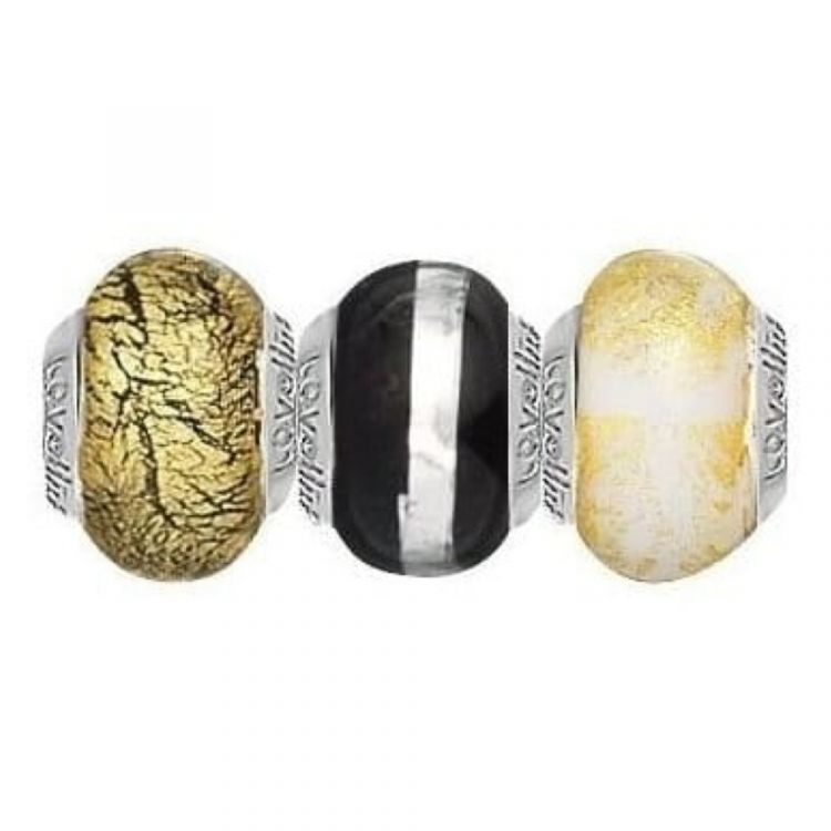 Golden Winter Set Of Three Sterling Silver And Murano Glass Links
