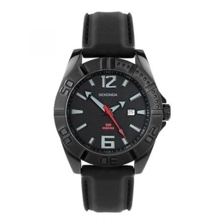 Gents Black Stainless Steel Rubber Strap Watch