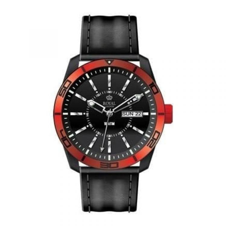 The Challenger Gents Red Bezel Black Leather Watch