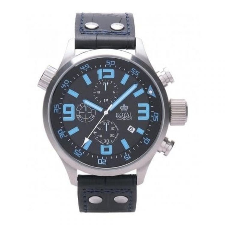 Trendy Oversized Black Leather With Blue Stitching Gents Watch