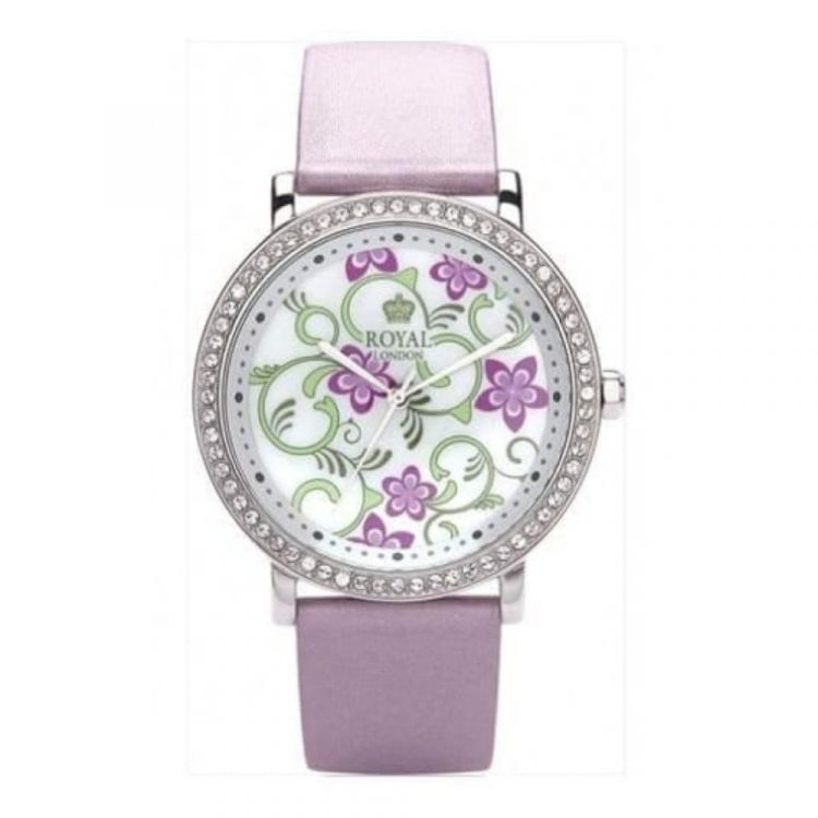 Ladies Lilac Leather Watch With Flowery Dial