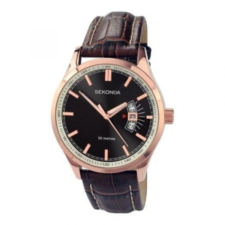 Gents Black Dial & Brown Leather Strap Watch