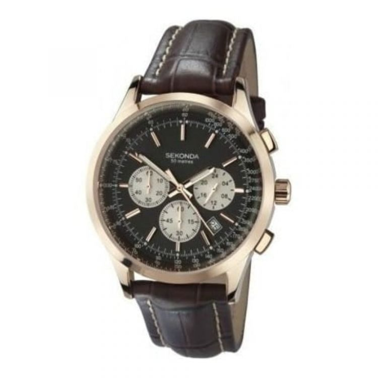 Gents Brown Leather & Rose Gold Coloured Casing Watch