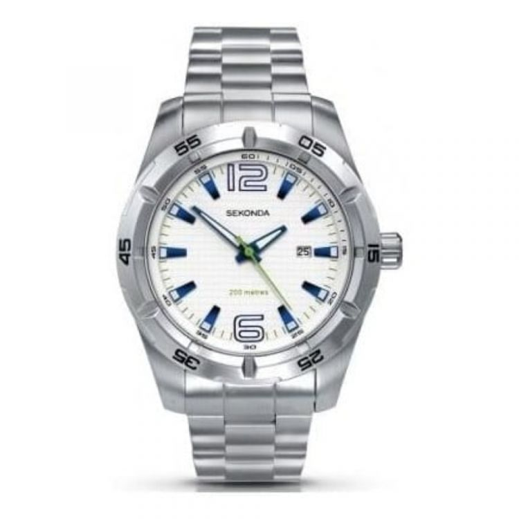 Gents Stainless Steel with White Dial Watch