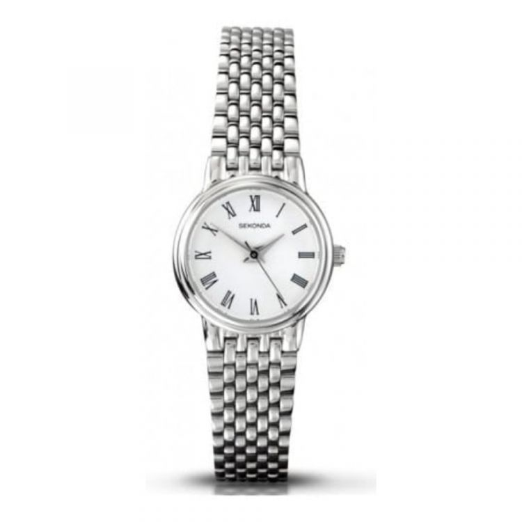 Stainless Steel Ladies Linked Watch With Roman Numerals