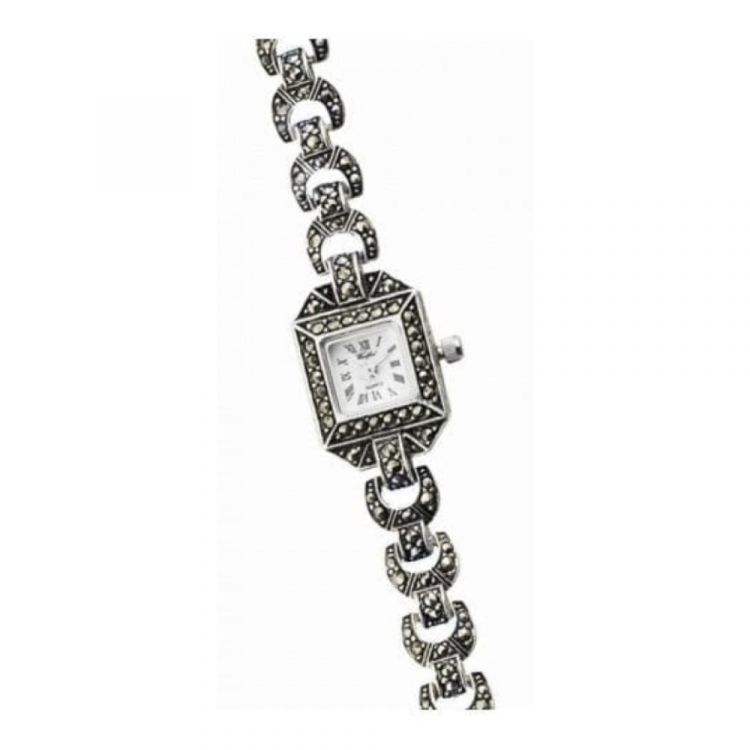Ladies Sterling Silver Square Watch With Marcasite Stones