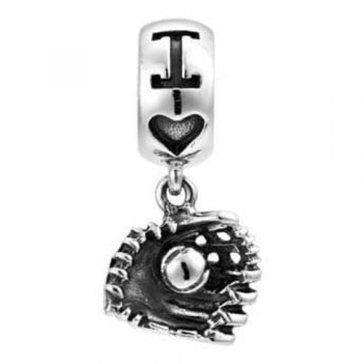 Sterling Silver 'The Catch' Baseball & Glove Pendant Link