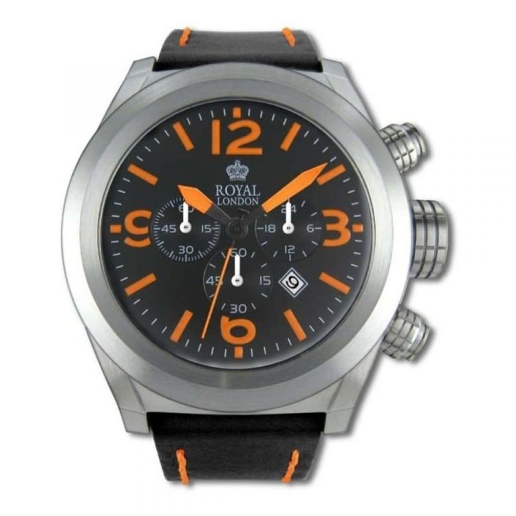 Gents Chronograph Stainless Steel And Black Leather Wristwatch