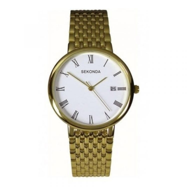 Gents Gold Plated Stainless Steel Flexible Bracelet Watch