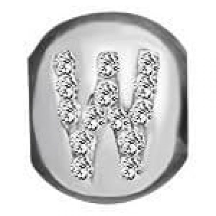 Sterling Silver And Synth. Cubic Zirconia 'W' Letter Link