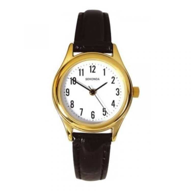 Ladies Stylish Black Leather Wristwatch With Gold Case