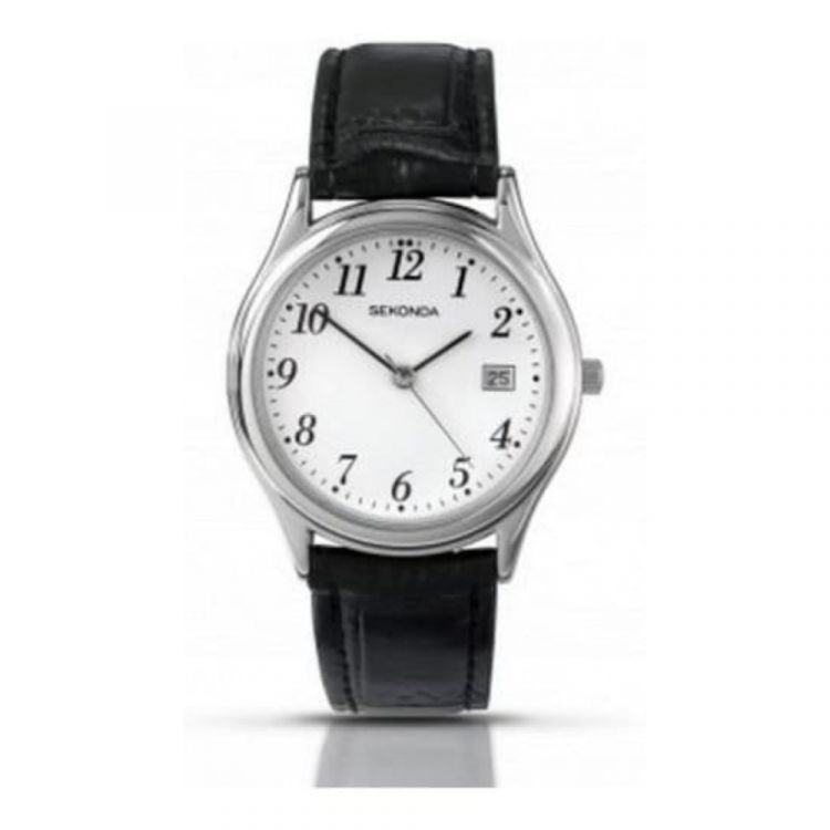 Black Leather Classic Strap Watch