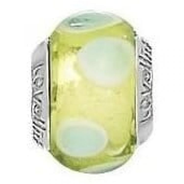 Sterling Silver 'Stepping Stones' Lime Murano Glass Link