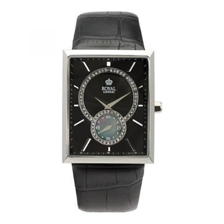 Ladies Stainless Steel And Black Leather/Face Adjustable Strap Watch