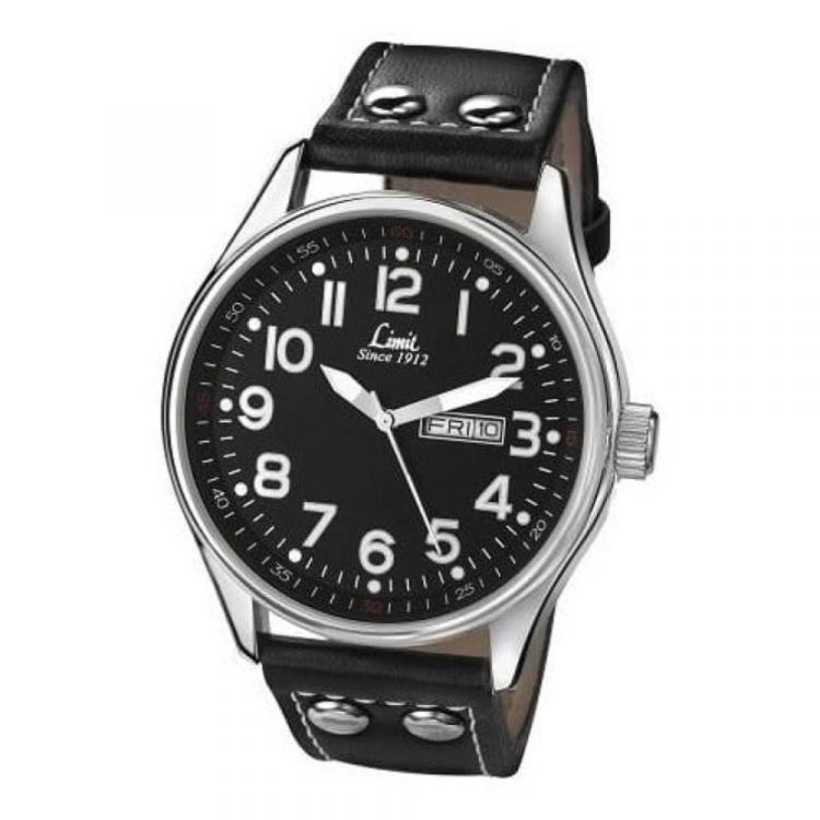 Black Leather Gents Wrist Watch