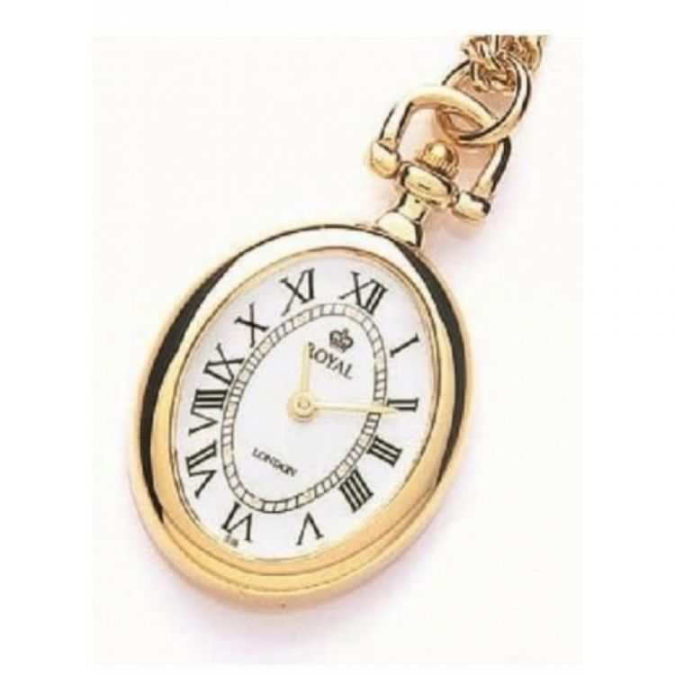 Open Face Gold Plated Quartz Oval Pendant Necklace Watch
