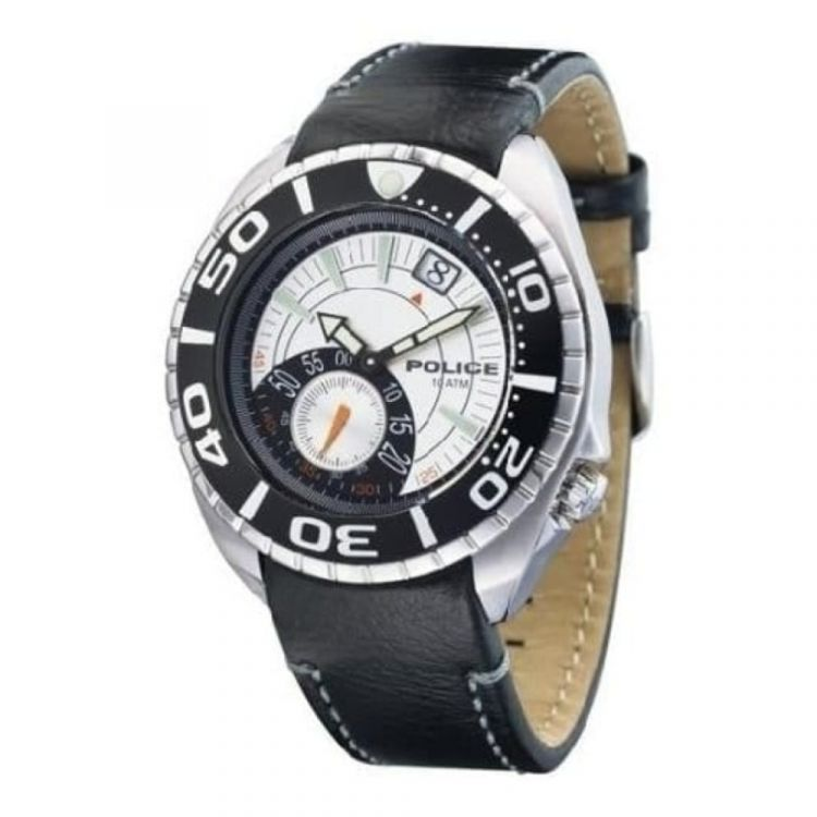 Regatta By Police Black Leather with White Dial