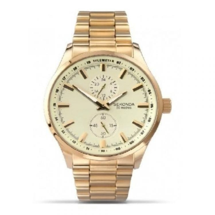 Gents gold coloured stainless steel wristwatch