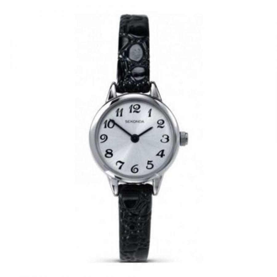 Ladies Petite Bubble Textured Black Leather Strap Watch
