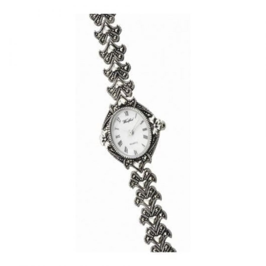 Ladies Sterling Silver & Marcasite Heart Watch