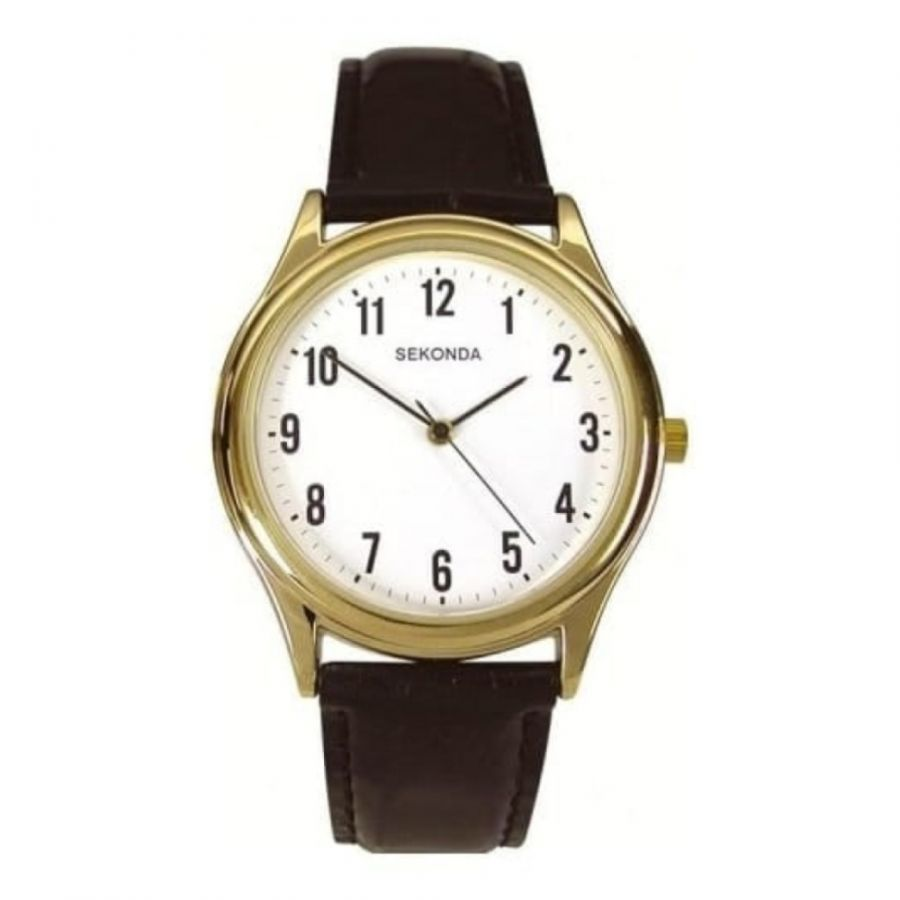 Gents Black Leather Gold Case Front Wristwatch