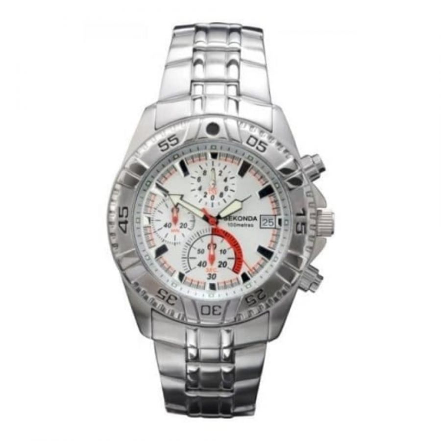 Gents Stainless Steel Chronograph Watch With Iluminious Hands