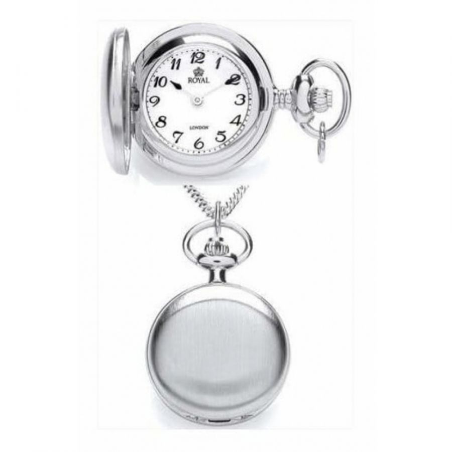 Ladies Brushed Chrome Plated Full Hunter Arabic Numeral Pendant Necklace Watch